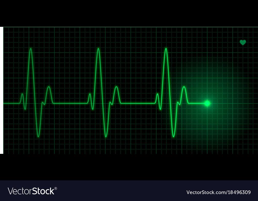 Green heart pulse on black background