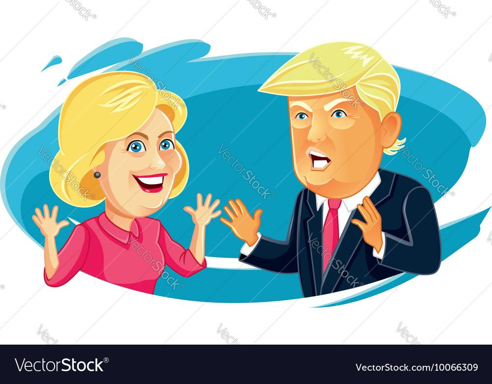 Hillary Clinton and Donald Trump Caricature