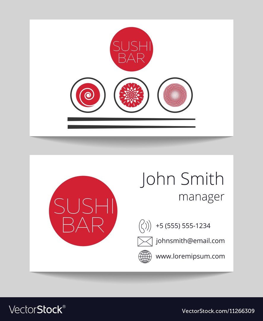 japanese sushi bar business card template vector image - Japanese Business Card