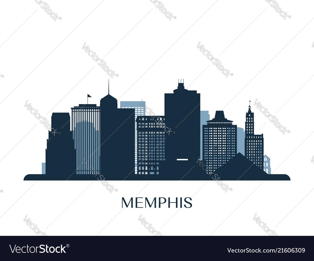 Memphis skyline monochrome silhouette