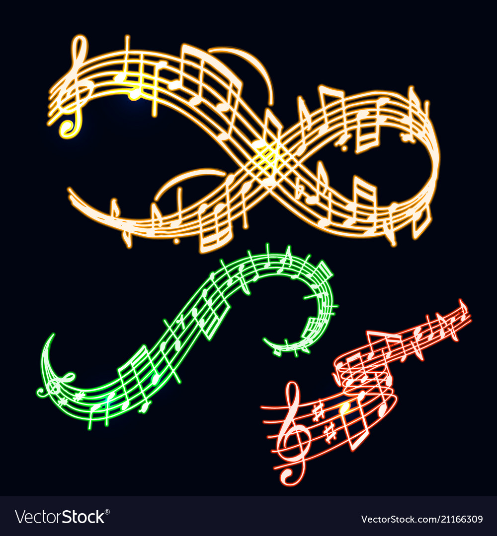 Notes music neon melody colorfull musician