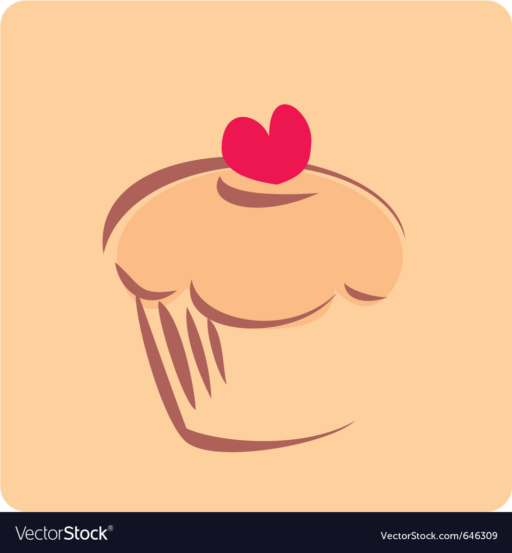 Retro cupcake silhouette with heart