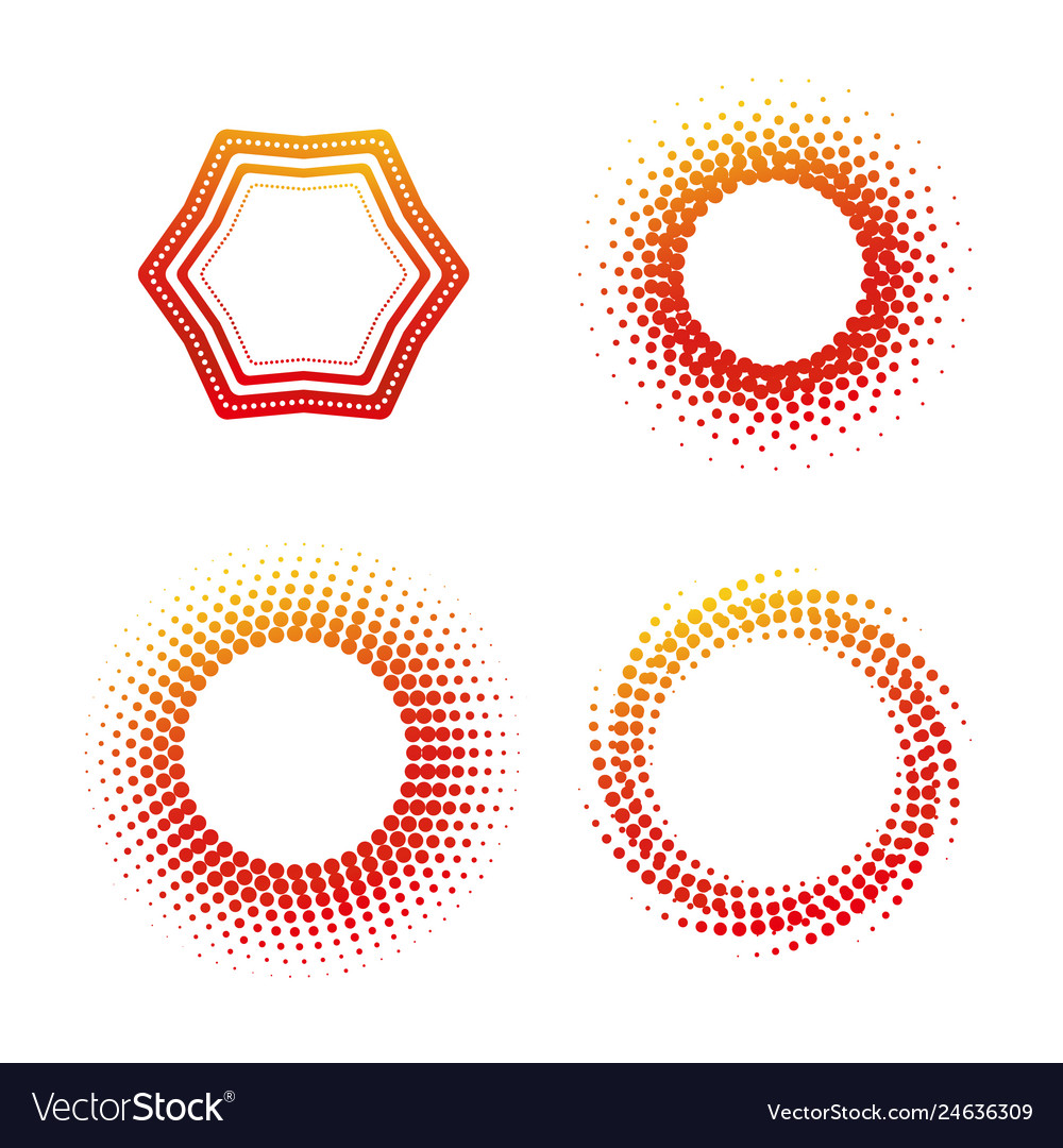 Round colorful shape banner icon set