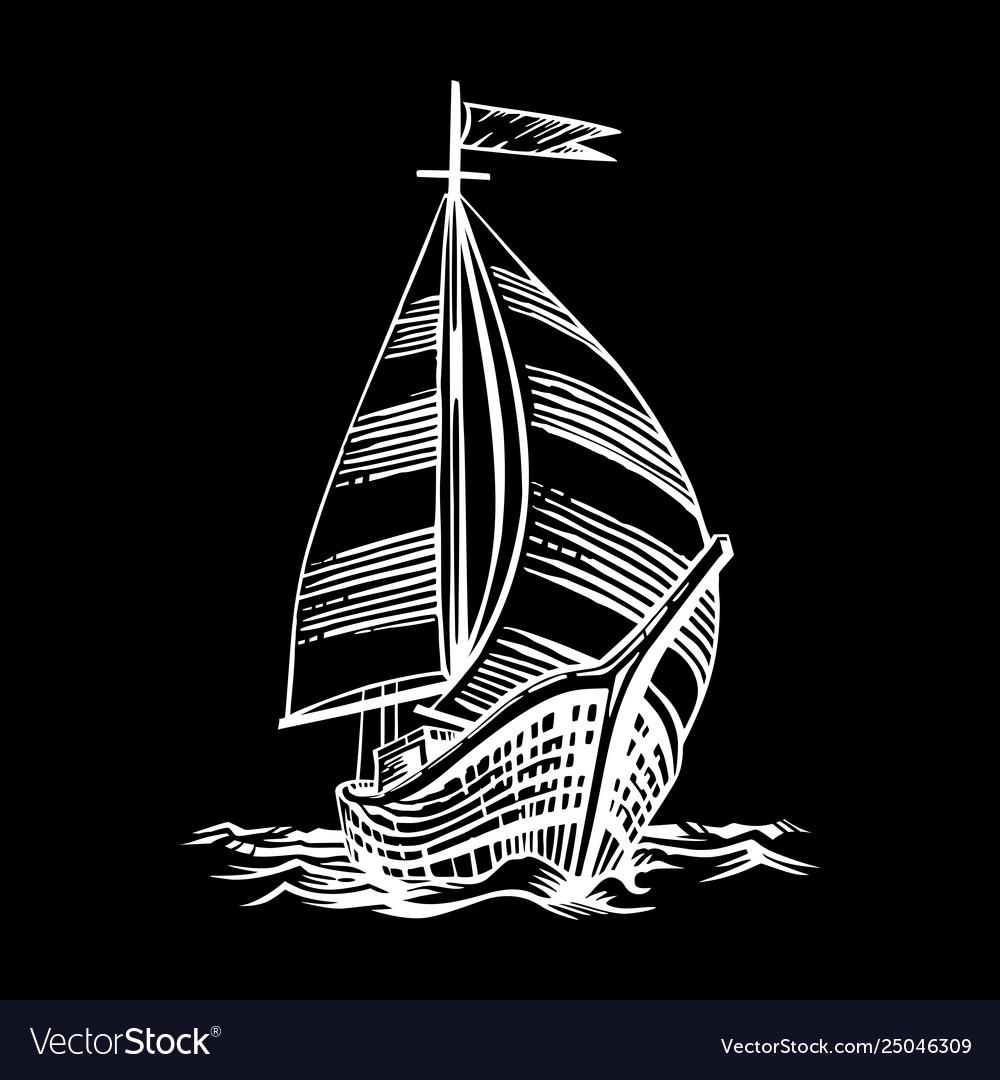 Sailing ship floating