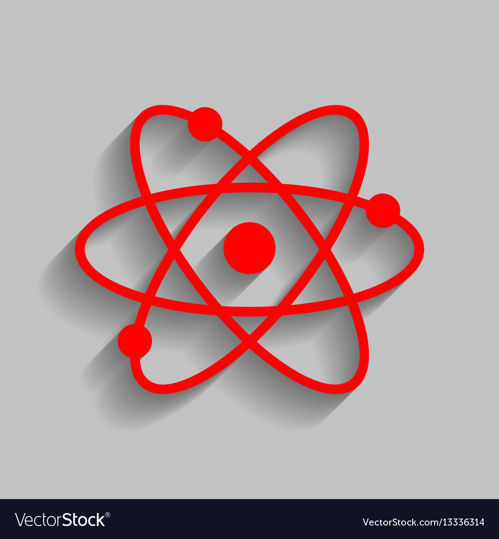 Atom sign red icon with soft