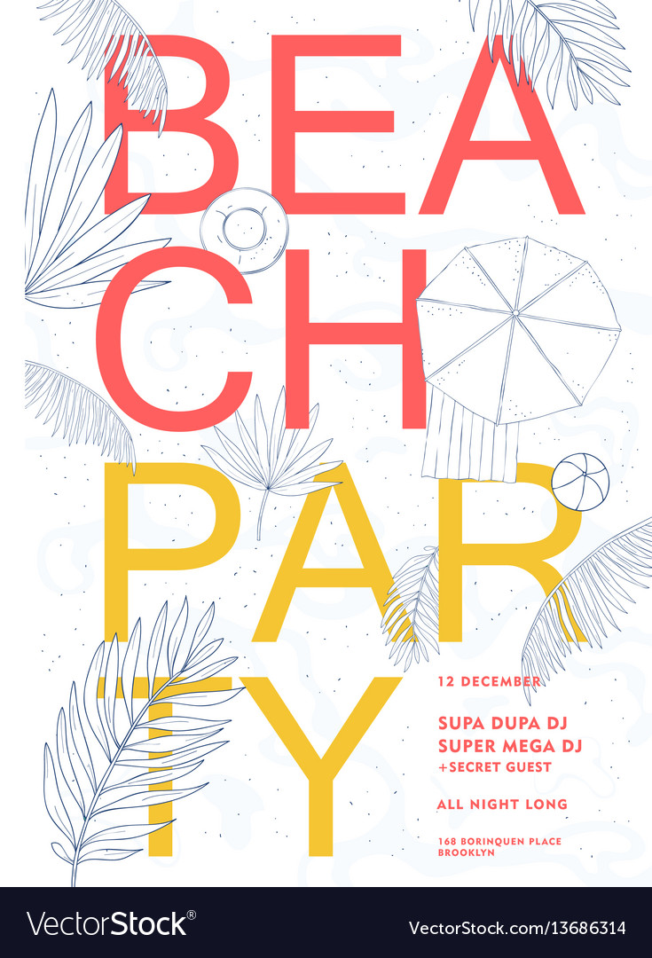 Beach party colorful hawaii poster summer event