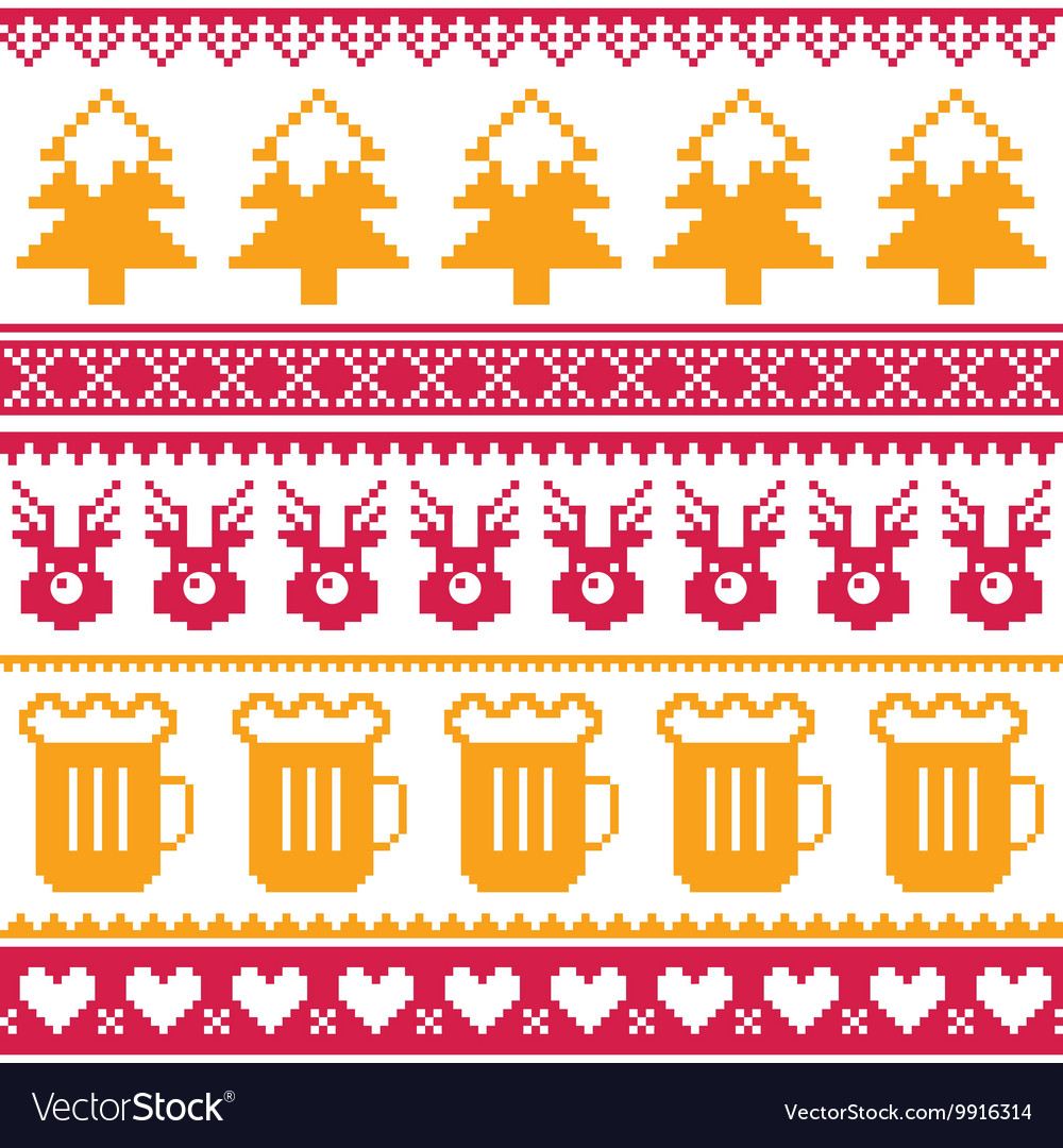 f3052c479878 Christmas seamless pattern with beer reindeer Vector Image