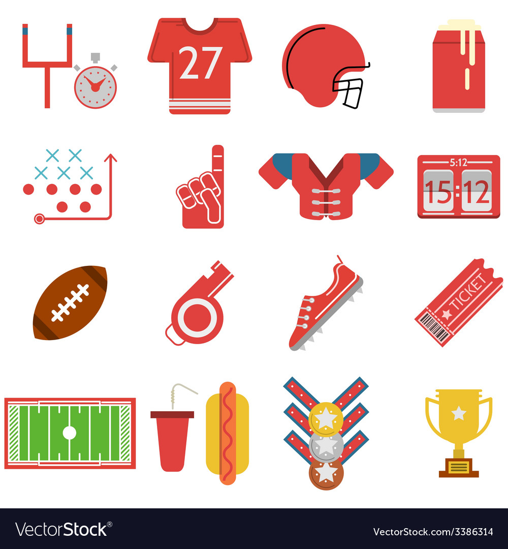 Colored icons for American football