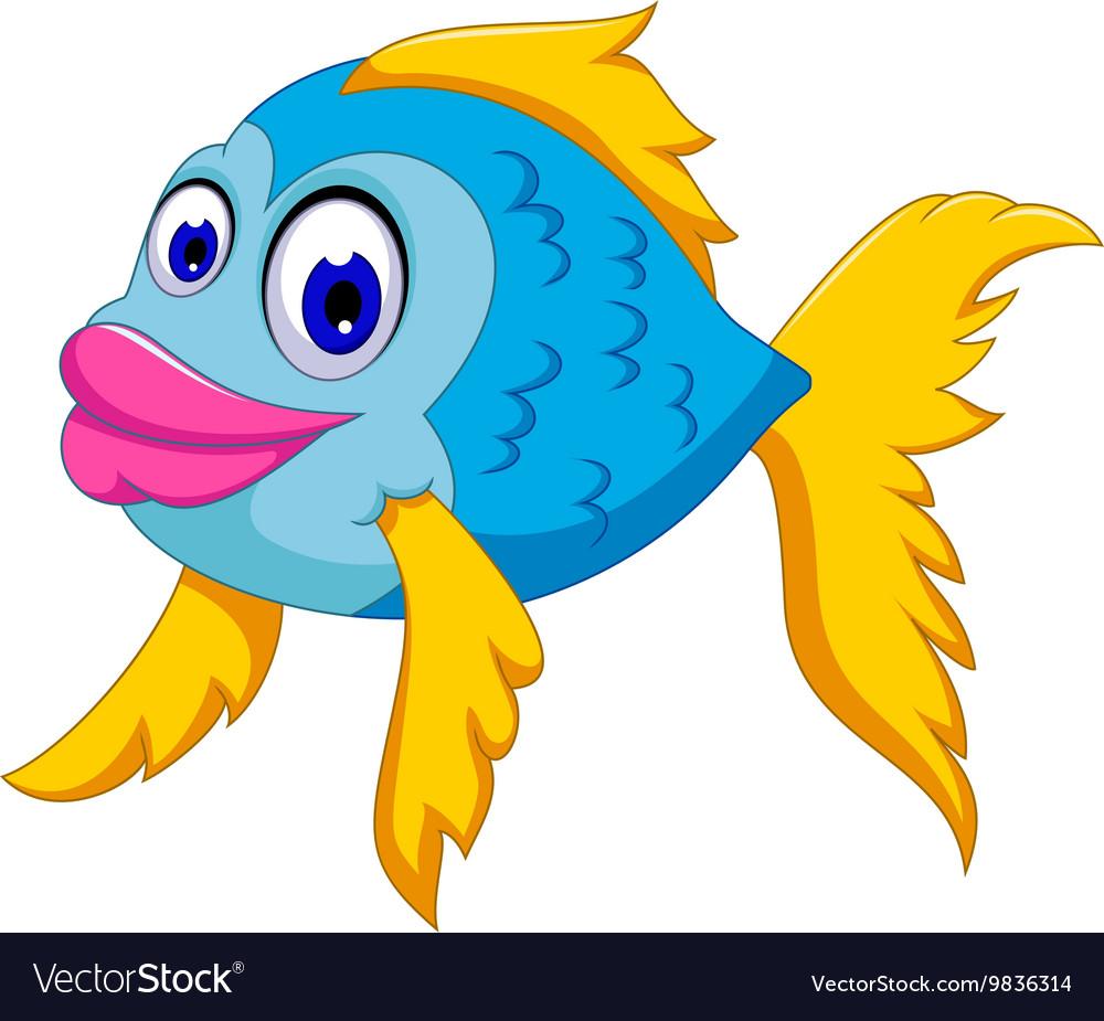 Cute fish cartoon posing