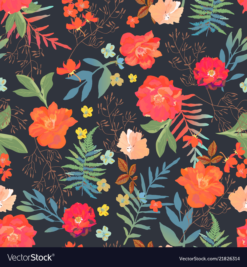 Flowers seamless pattern hand drawn for print