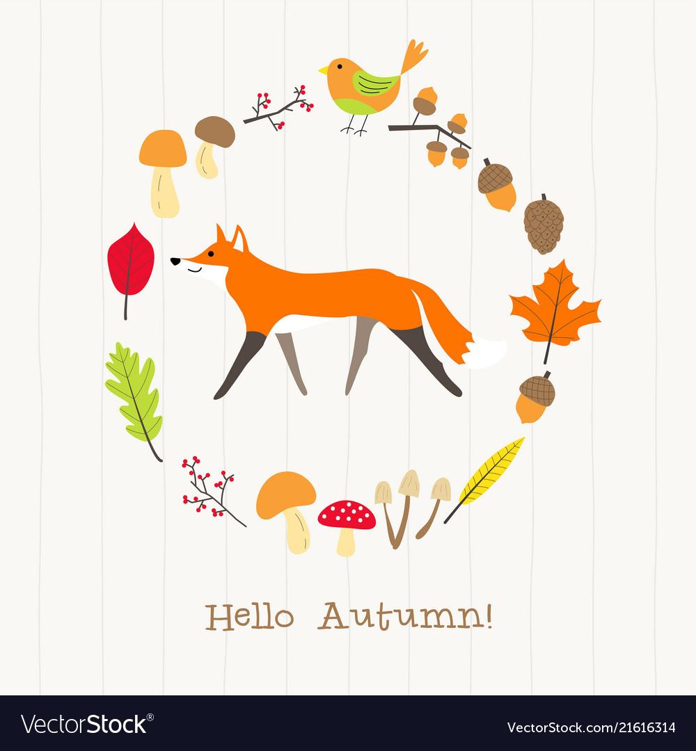 Fox with autumn frame card