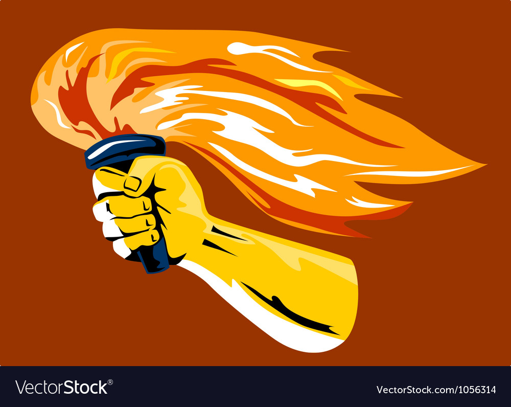 Hand Holding Burning Flaming Torch vector image