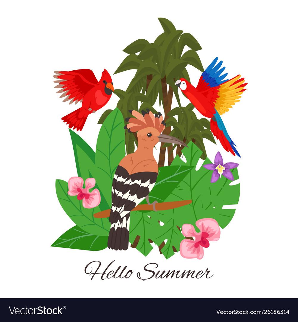 Hello summer jungle design banner