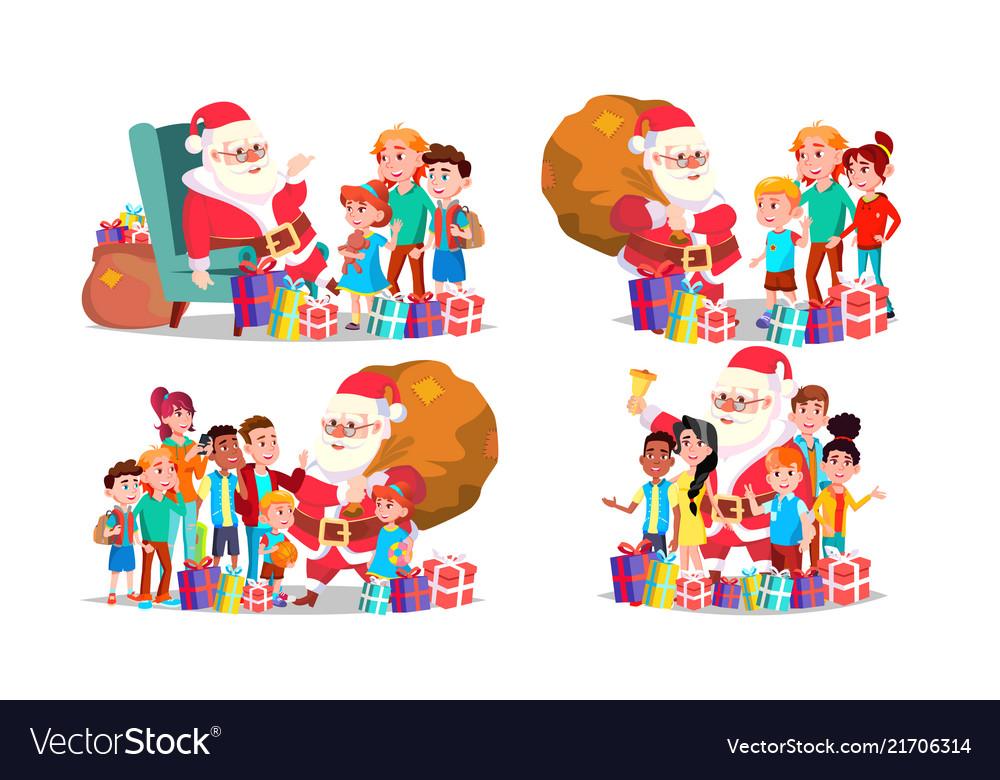 Santa claus with children set cheerful