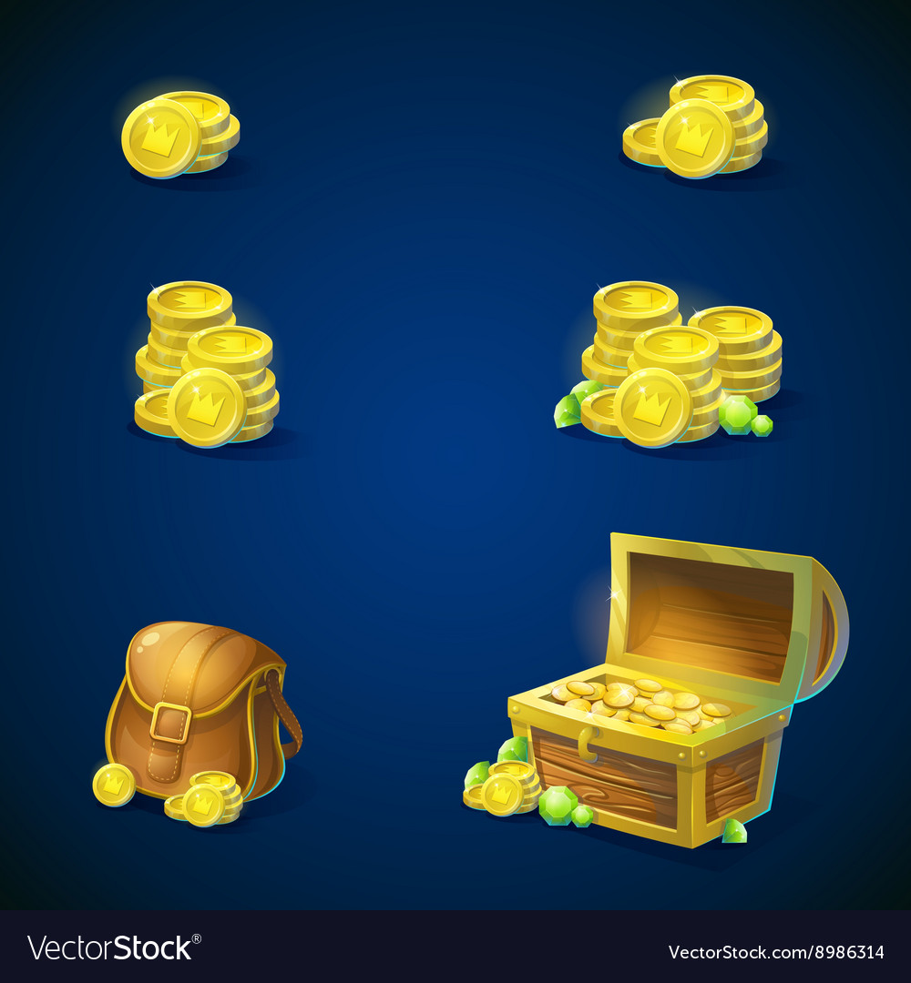 Set objects - coins chest emeralds bag