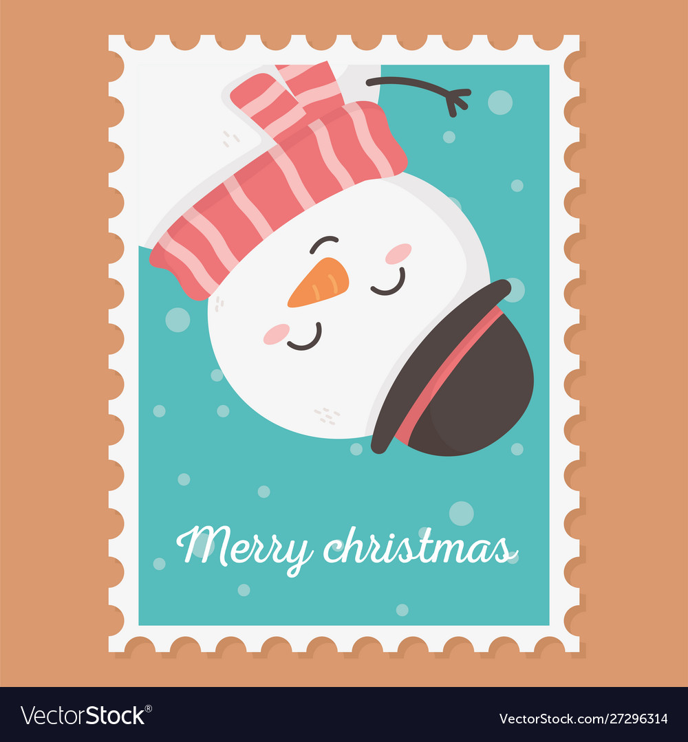Snowman celebration happy christmas stamp