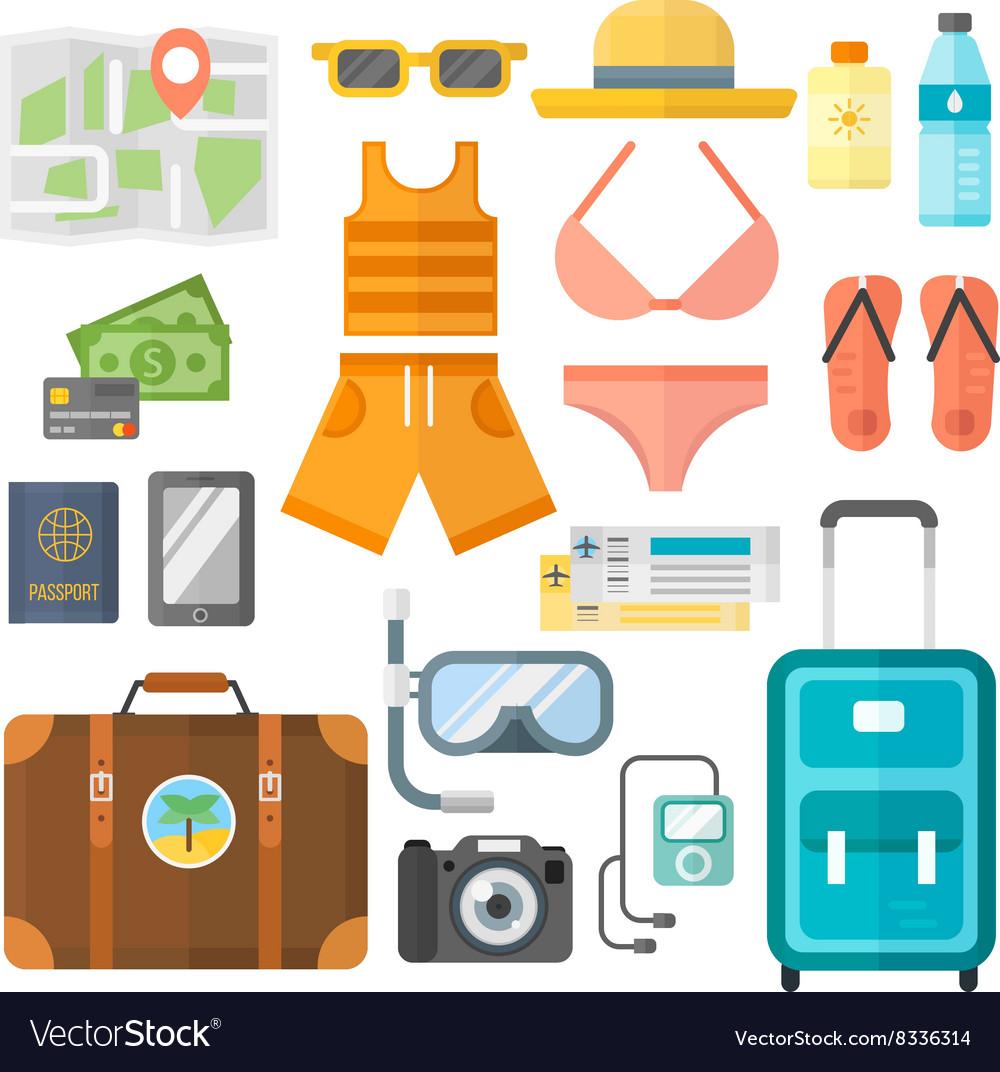 Summer vacation symbols beach travel holiday