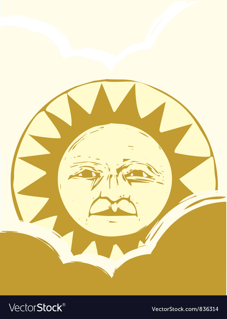 Sun Face and Clouds A