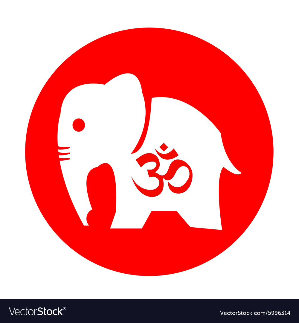 The Elephant And Om Symbol Design Royalty Free Vector Image