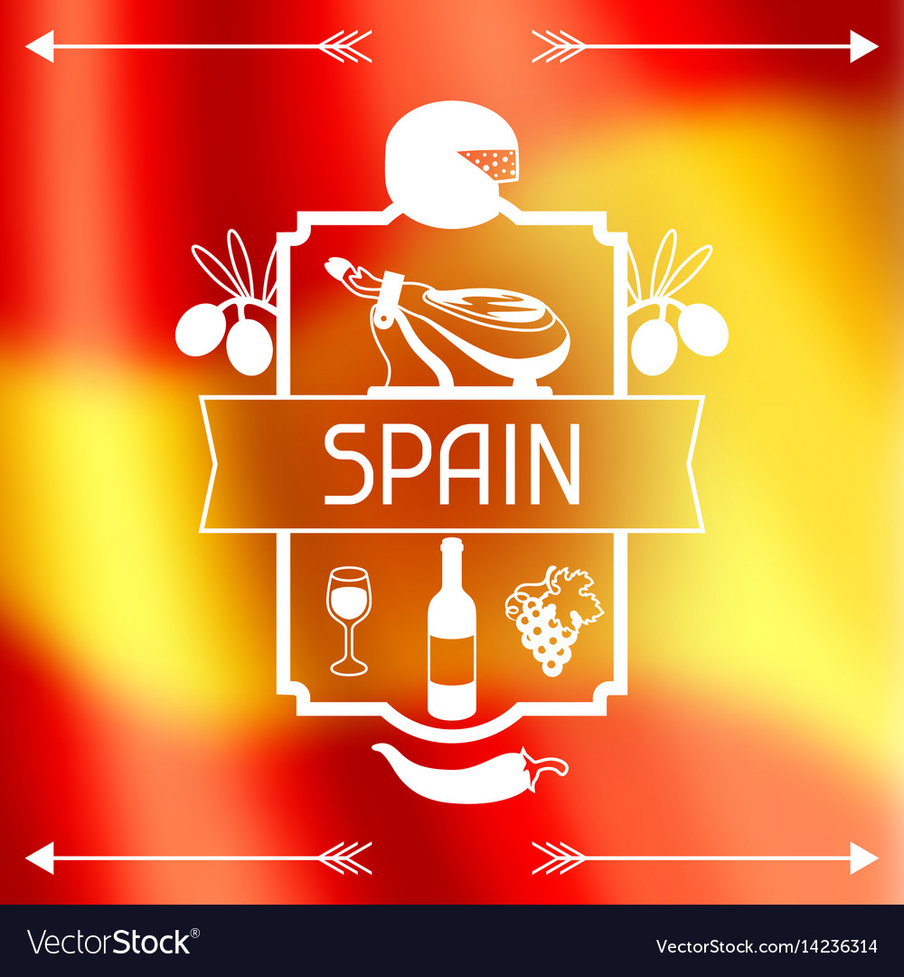 Traditional spanish food spain background design vector image