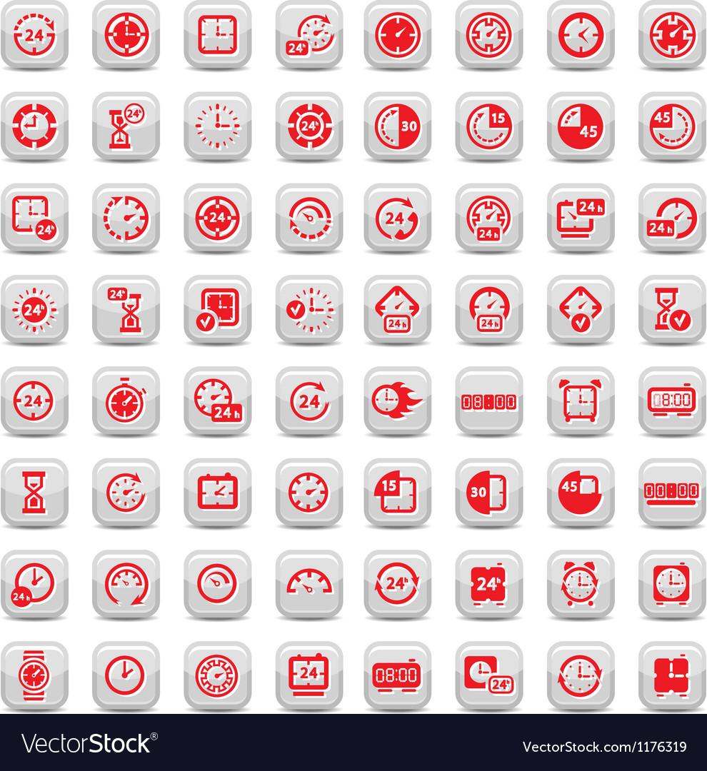 Big clock icons set vector image