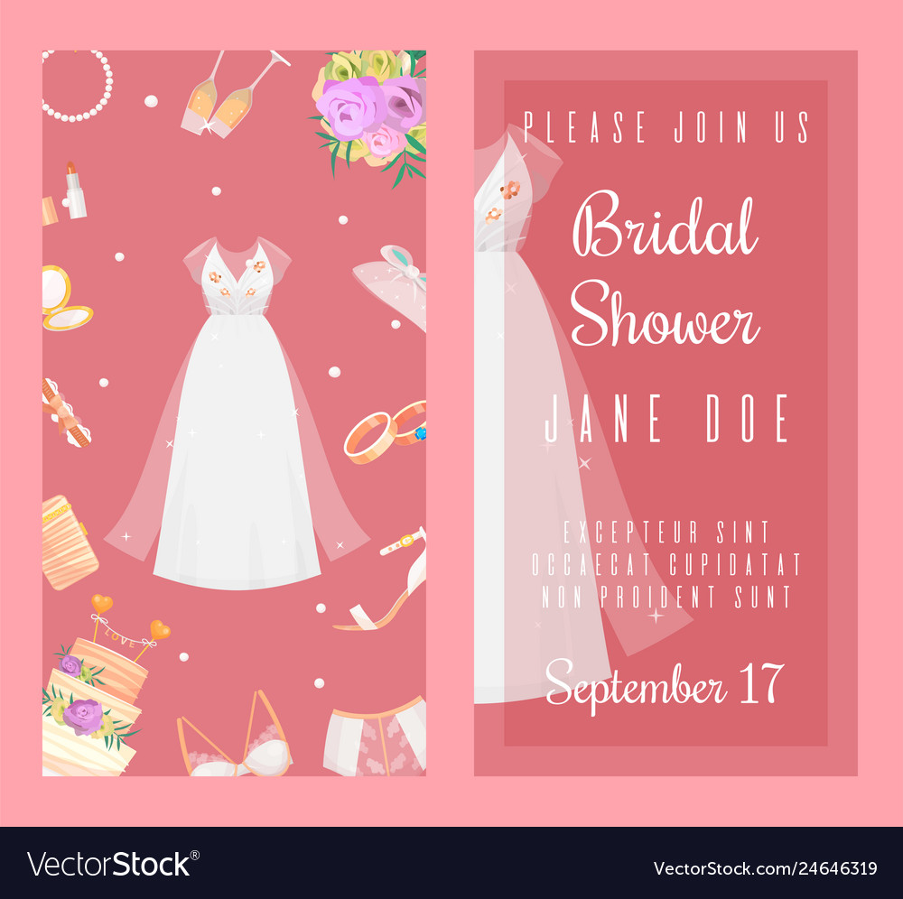 Bridal shower invitations set of banners