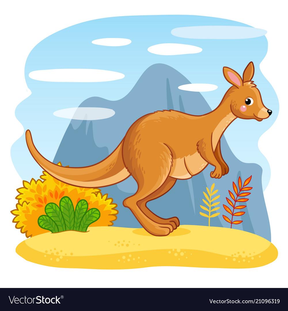 Cute kangaroos jumping through sand