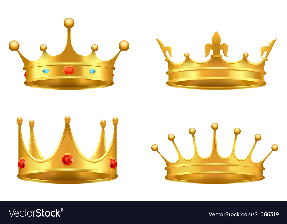 Golden crown with gems 3d icon realistic