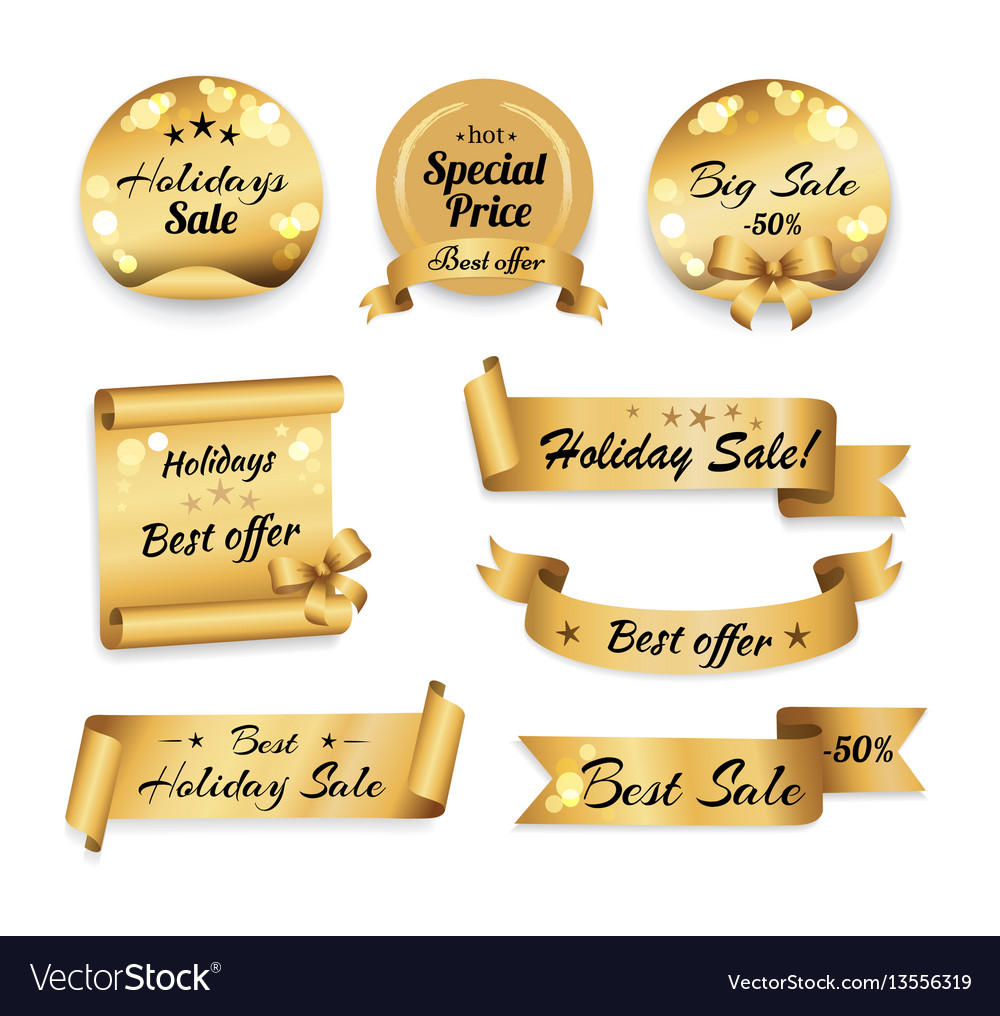 Holidays Big Best Sale And Special Prices Banner Vector Image