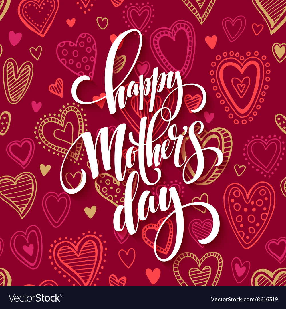 Mothers day lettering card with red seamless