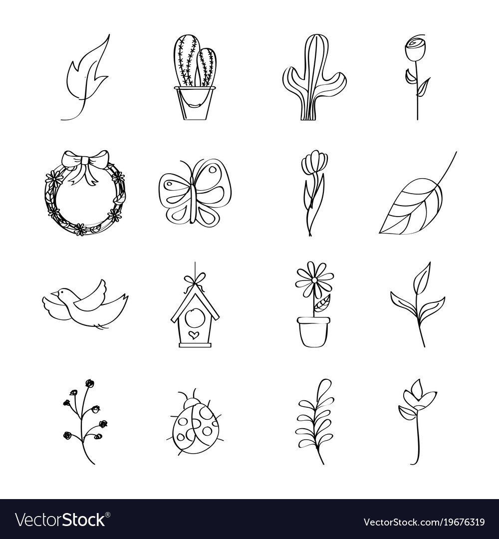 Outlined icons decoration spring season