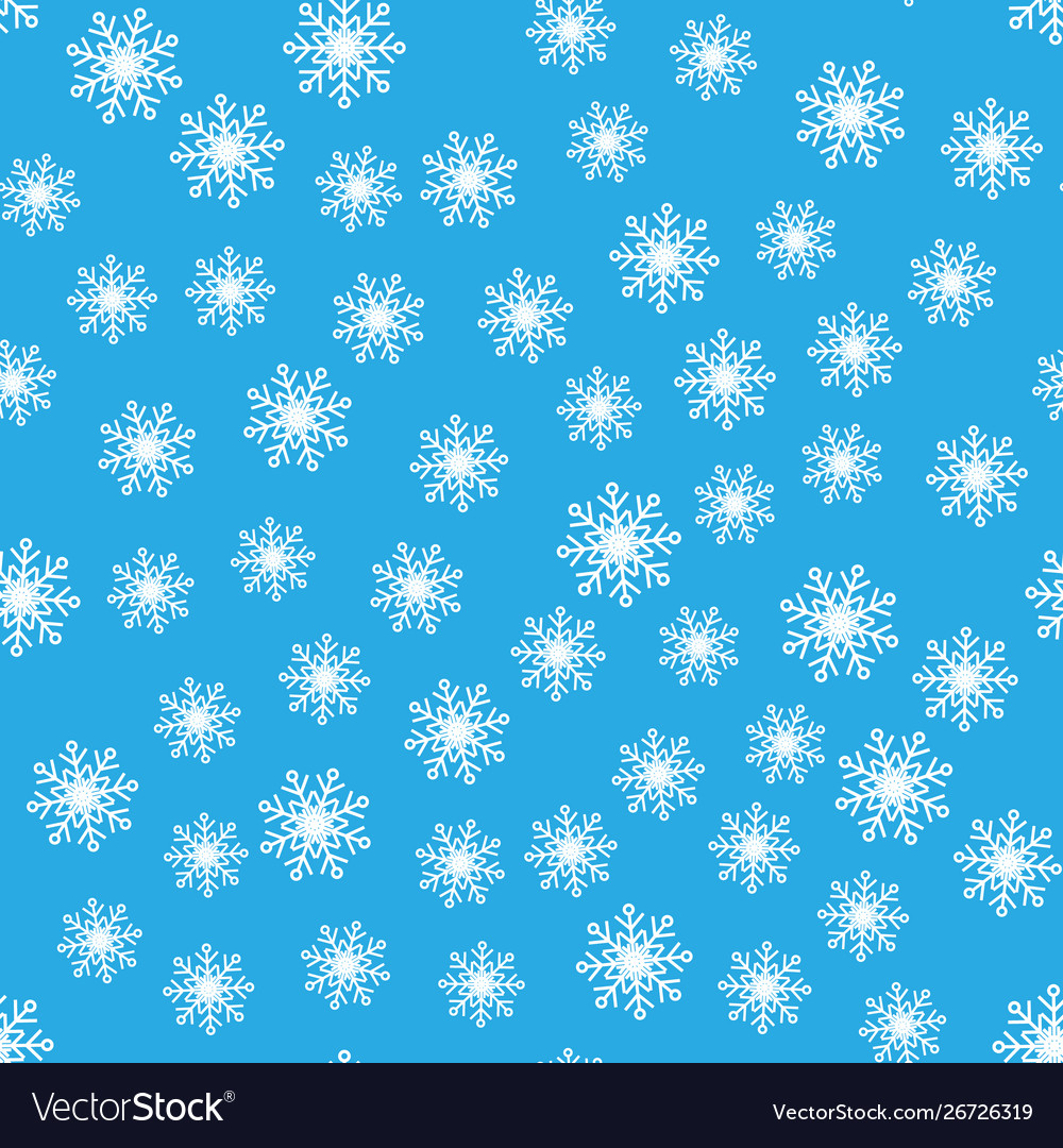 Seamless pattern white snowflakes on a blue