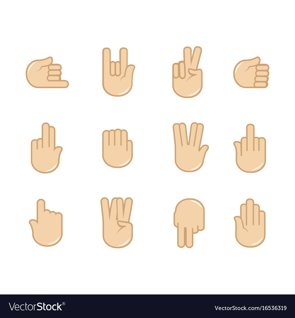 Set of hand gestures icons sign language