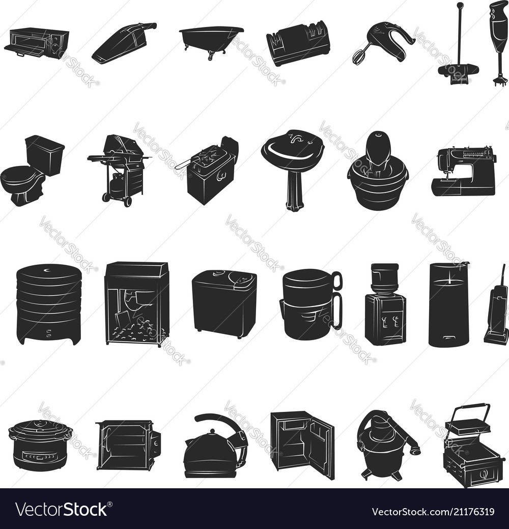 Silhouettes of home appliances