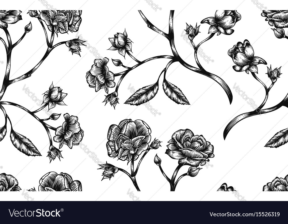 Vintage Rose Seamless Pattern Royalty Free Vector Image