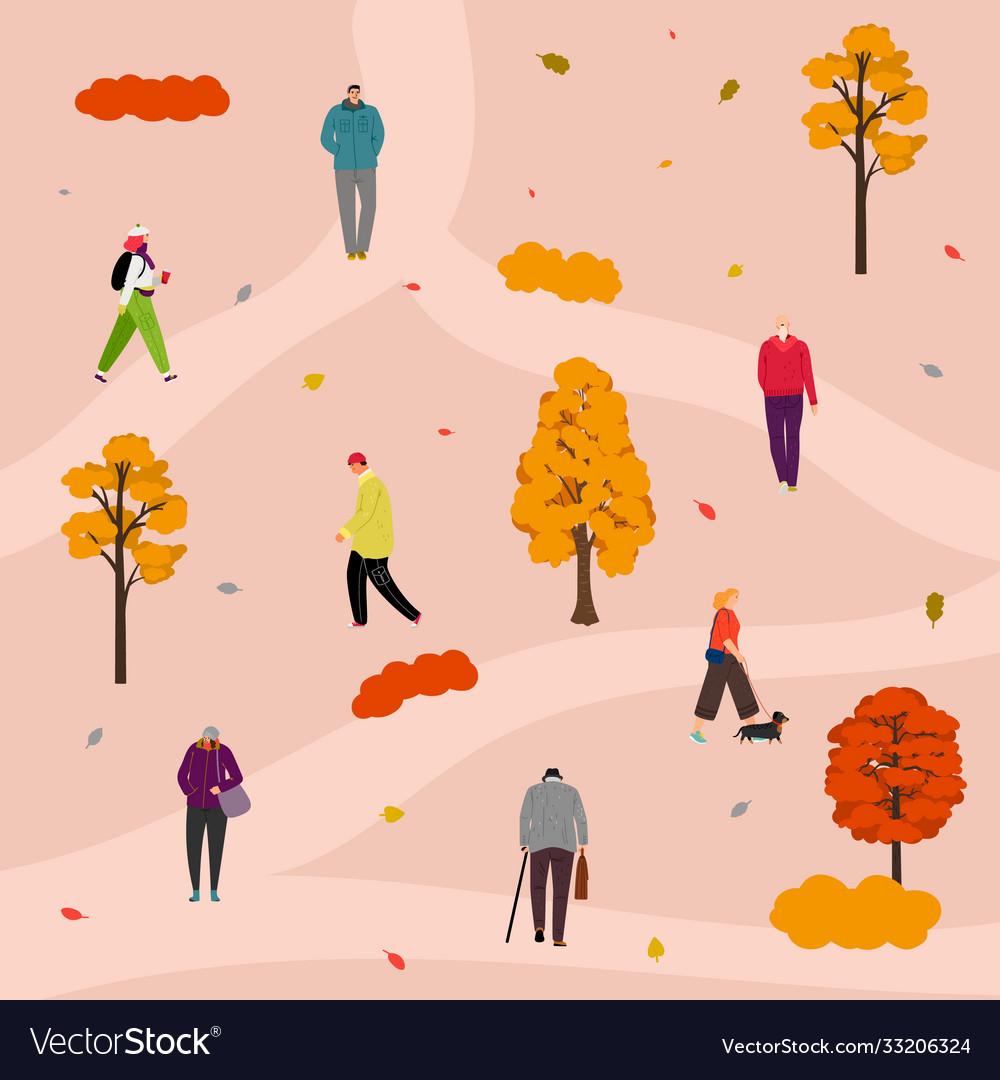 Autumn park walking