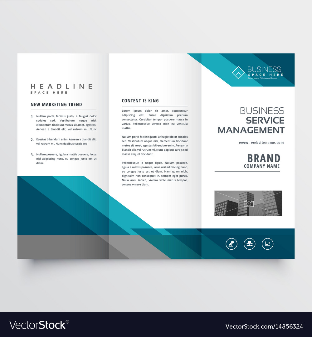Business trifold brochure leaflet design in size vector image for Custom brochure design