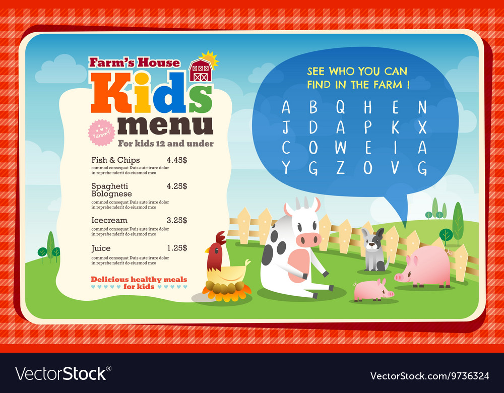 cute colorful kids meal menu placemat template vector image
