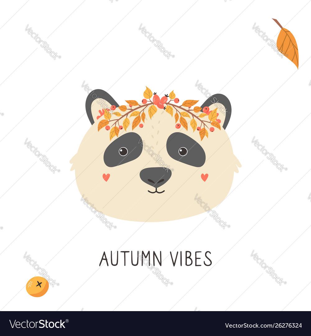 Cute panda in autumn wreath on white background