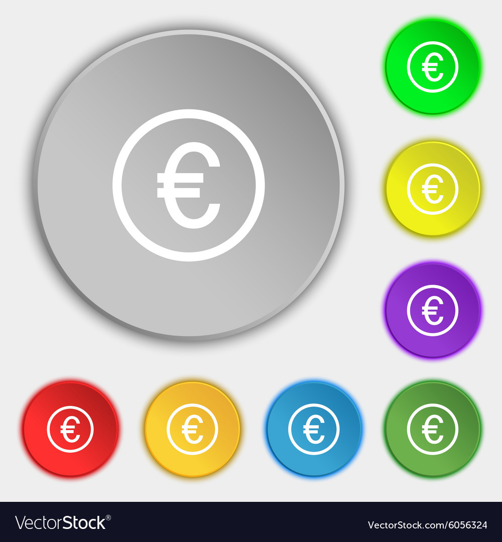 Euro icon sign Symbols on eight flat buttons vector image