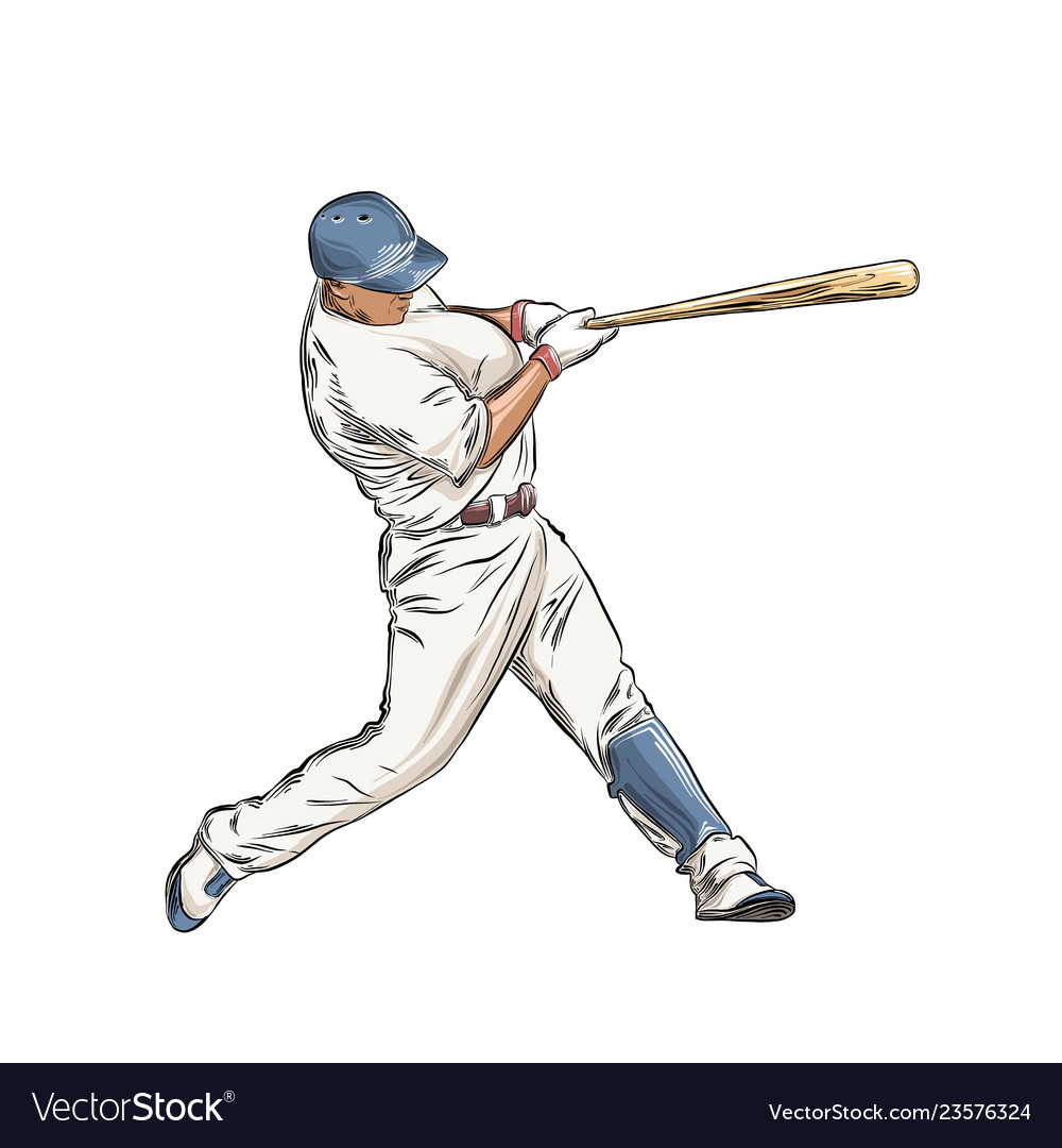 Hand drawn sketch of baseball player in color