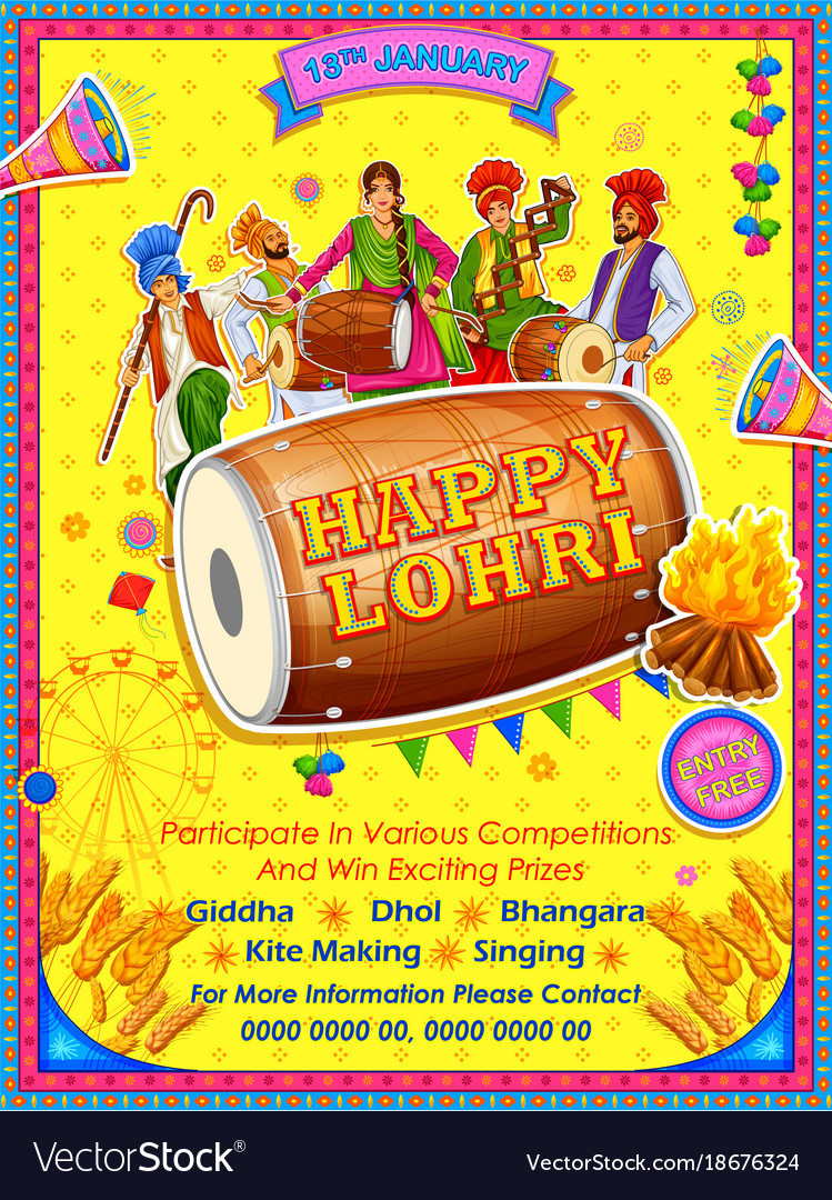 Happy lohri holiday background for punjabi