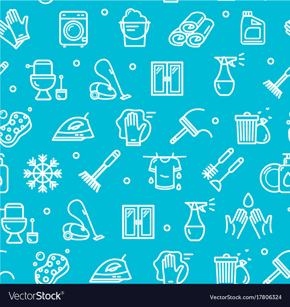 Household and cleaning tools pattern background on