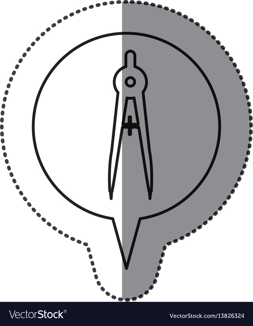 Monochrome contour sticker with drawing compass vector image