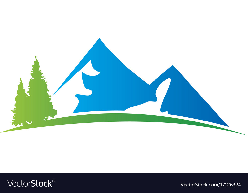 mountain hill pine tree logo royalty free vector image