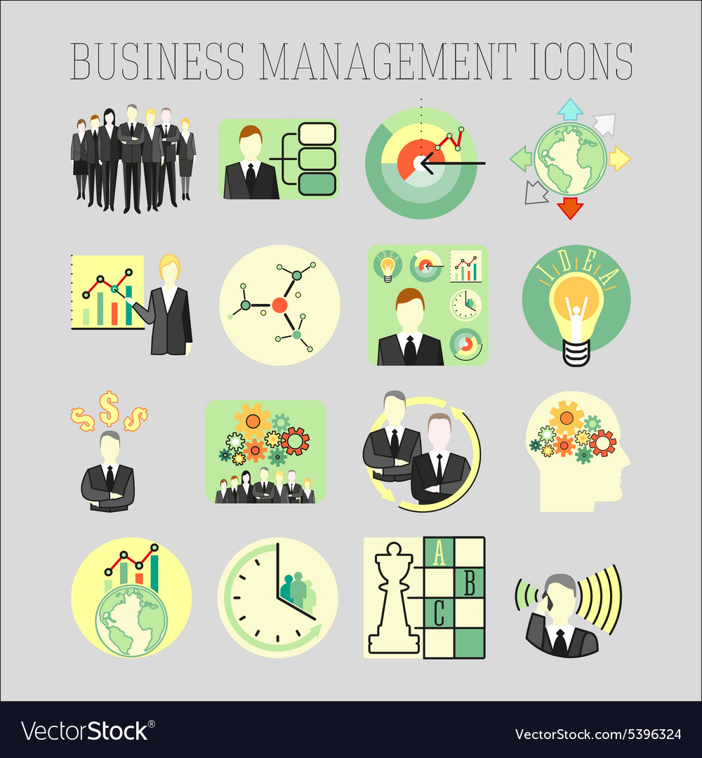 Set of a business and management icons