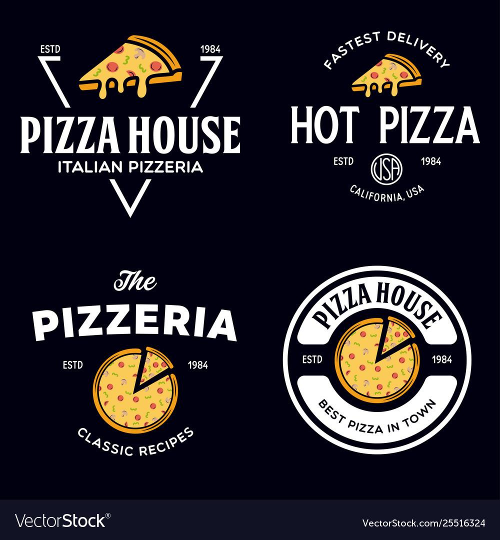 Set pizza logo badges banners emblems