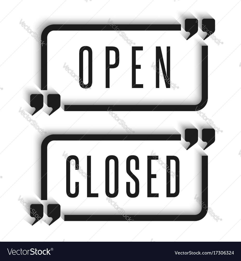 Signboard in the door are open and closed