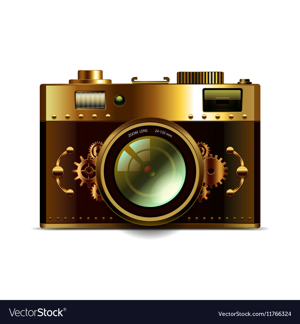 Steampunk camera isolated
