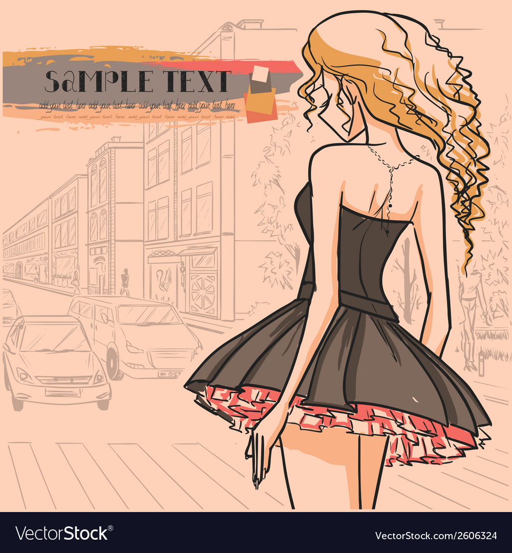 Urban view and slender sexy girl in short dress vector image